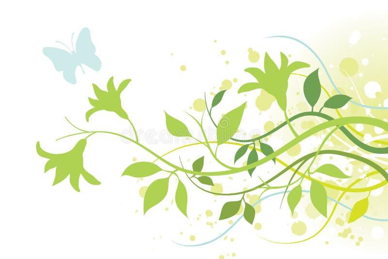 Flor, folhas e uma borboleta ilustração royalty free