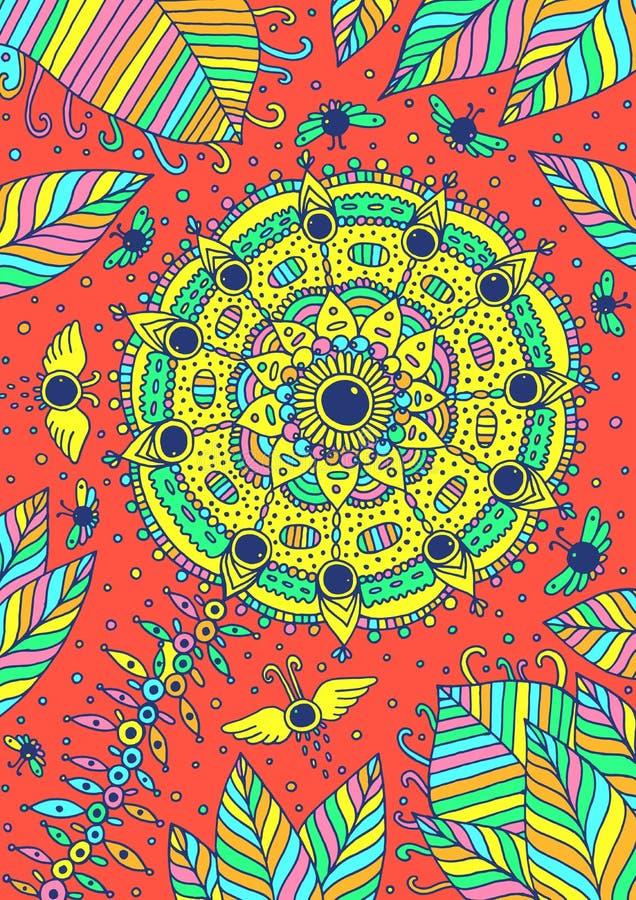Flor, folhas, moscas e céu - backround psicadélico fantástico Ilustração desenhada mão Ilustração do vetor ilustração do vetor