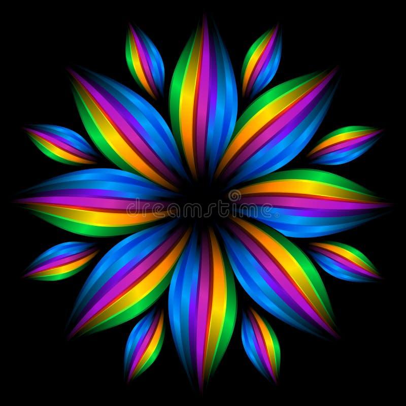 Flor futurista abstrata do arco-íris ilustração royalty free