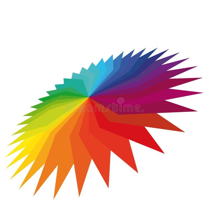 Flor geométrica de Colorfull em um fundo branco. ilustração do vetor
