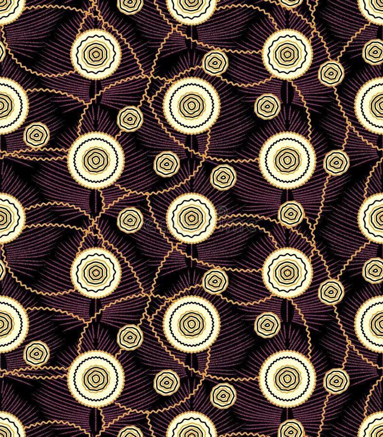 Flor geométrica del extracto de la ronda con el fondo oscuro ilustración del vector