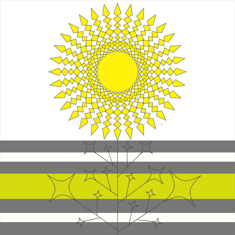 Flor geométrica do sol ilustração royalty free