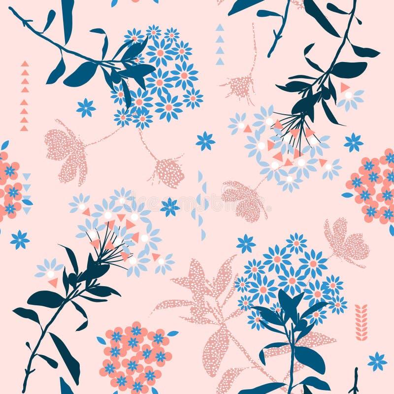 Flor geométrica na moda na mistura da cor pastel com folha do jardim, c ilustração do vetor