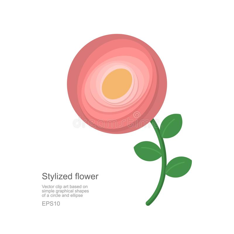 Flor gráfica baseada nas formas simples ilustração do vetor