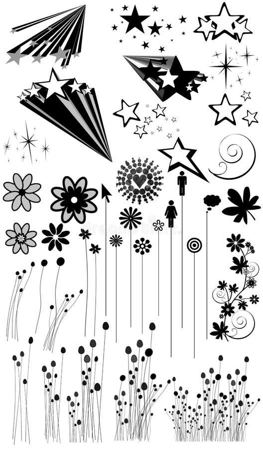 Flor, grama e silhuetas da estrela fotografia de stock royalty free