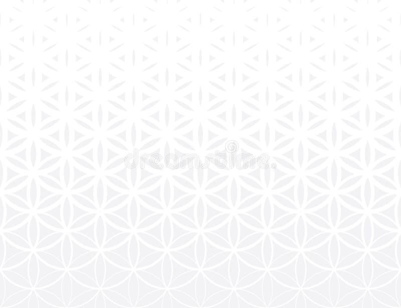 Flor gris de la pendiente de la geometría sagrada abstracta del modelo sutil de semitono de la vida ilustración del vector