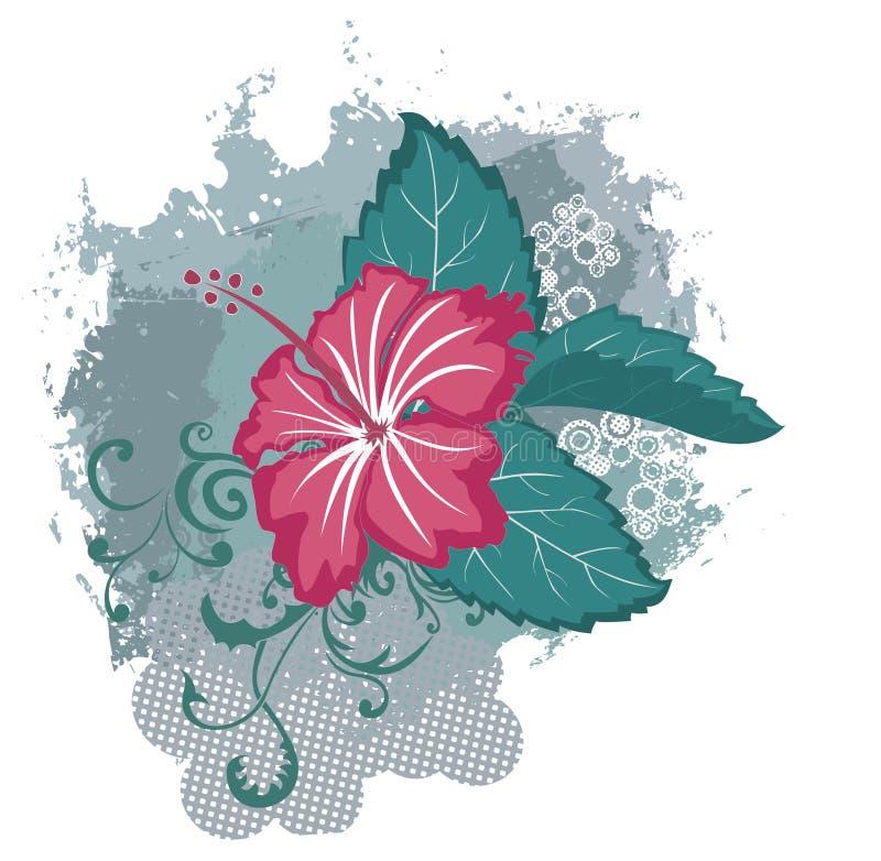 Flor hawaiana del hibisco del vector de Grunge stock de ilustración