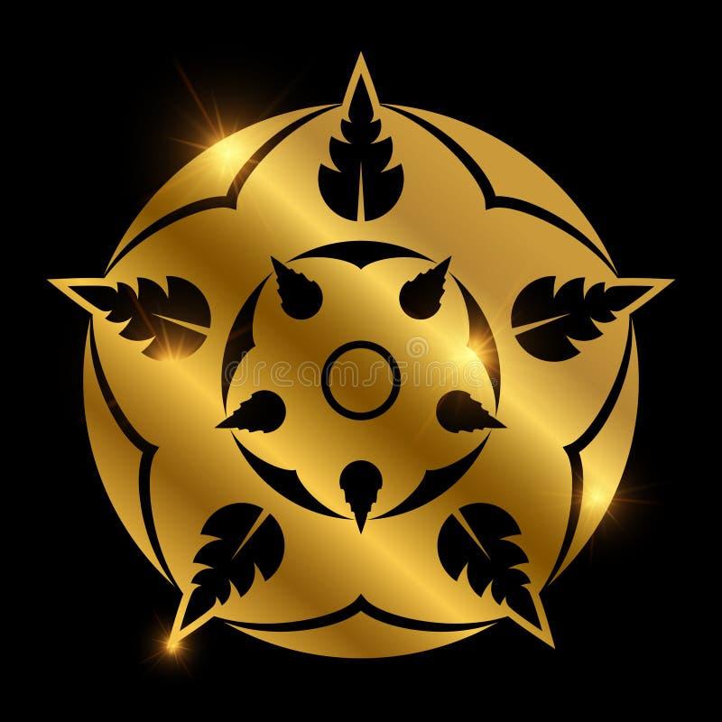 Flor heráldica de oro brillante Elemento floral abstracto ilustración del vector