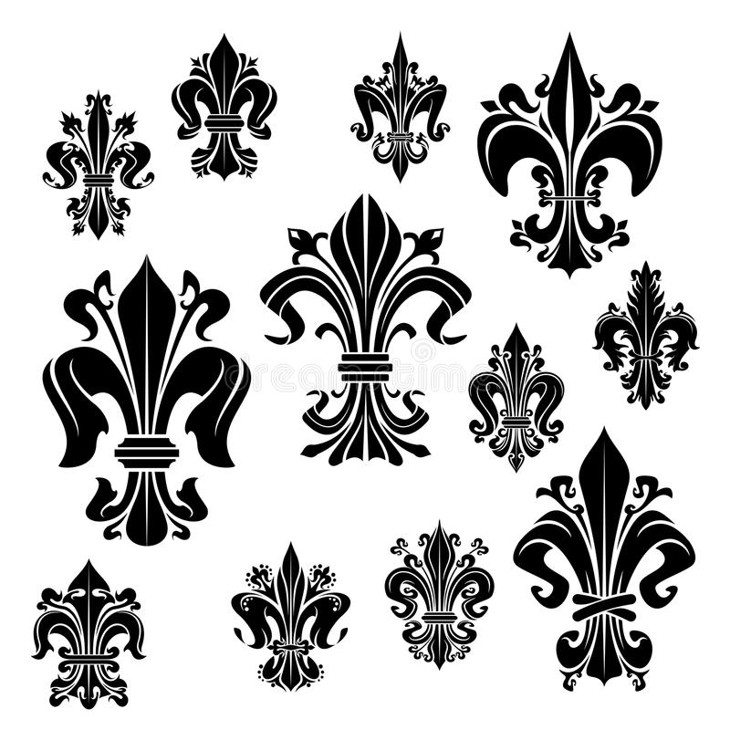 Flor heraldiic do lírio da flor de lis do símbolo do vetor ilustração royalty free