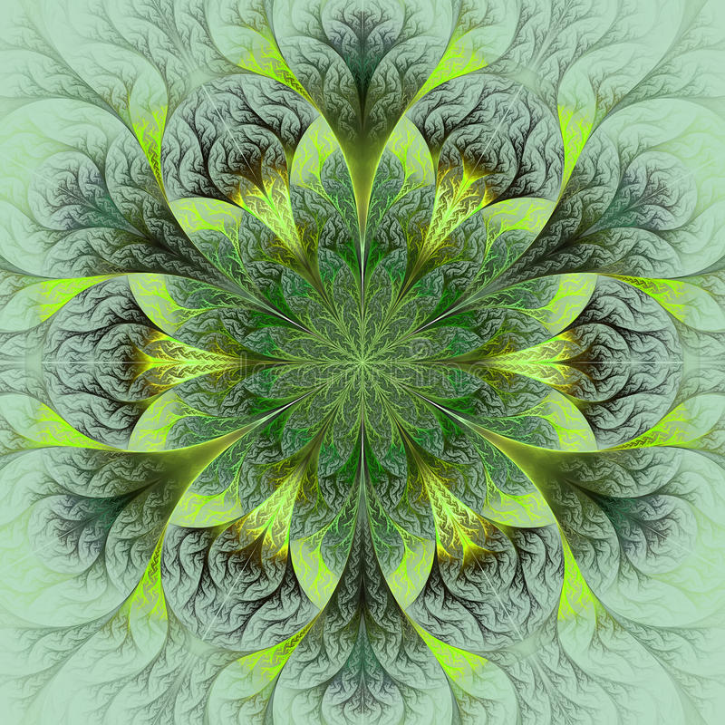 Flor hermosa del fractal en marrón, verde y gris. libre illustration