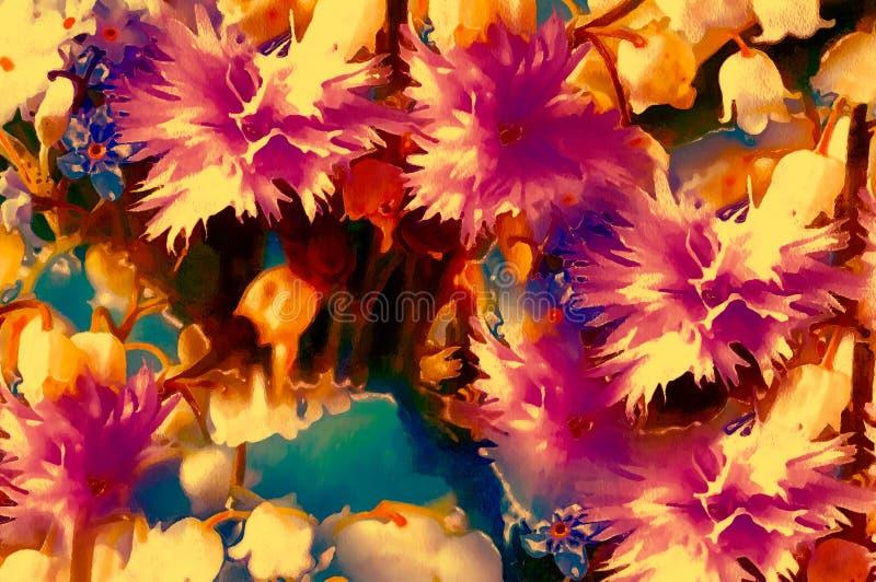 Flor hermosa del prado collage de la pintura de la acuarela del ordenador libre illustration