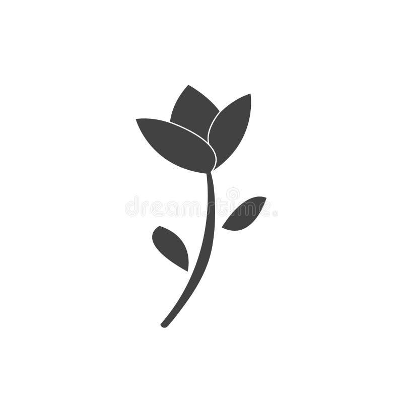 Flor hermosa del tulipán Icono plano del diseño Aislado sobre blanco stock de ilustración