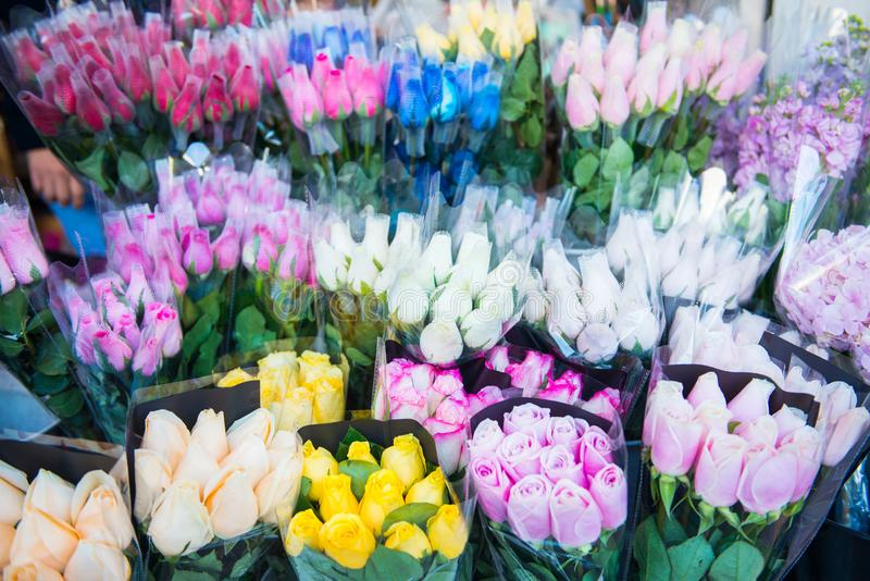 Flor hermosa para la venta en el mercado de la flor, Mong Kok fotografía de archivo