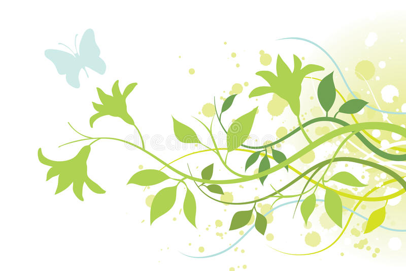 Flor, hojas y una mariposa libre illustration