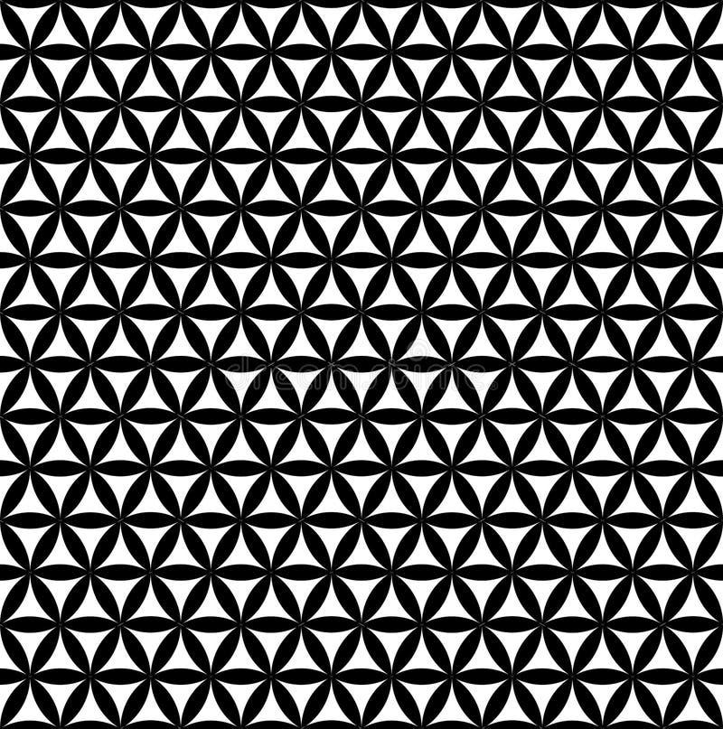 Flor inconsútil negra del modelo de la vida - fondo sagrado de la geometría - la mayoría del modelo mágico en el mundo stock de ilustración