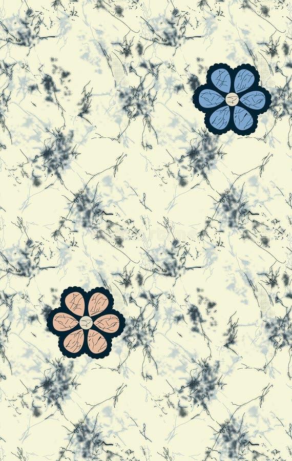 Flor intrépida inconsútil con el fondo del batik stock de ilustración