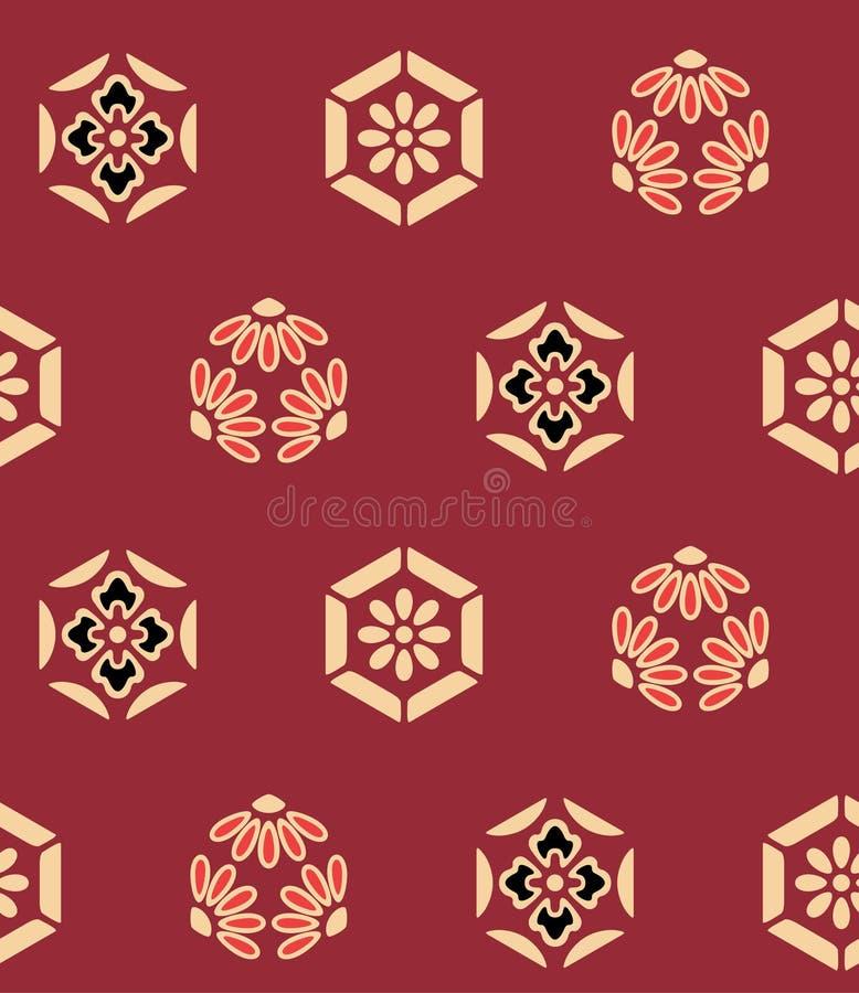 Flor japonesa Art Seamless Pattern del hexágono ilustración del vector