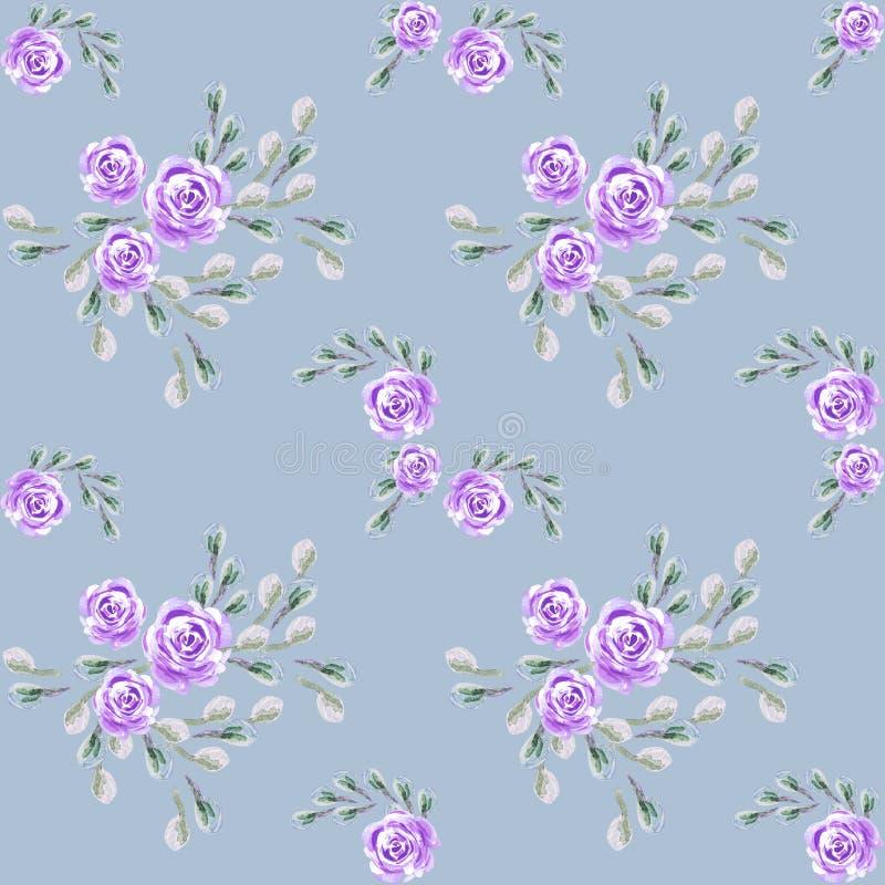 A flor levantou-se Telha bot?nica Flor selvagem do Aquarelle para o fundo, textura ilustração royalty free