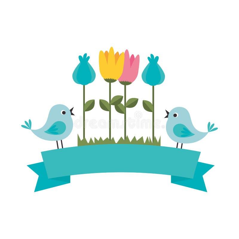 Flor linda con el icono decorativo de los pájaros stock de ilustración