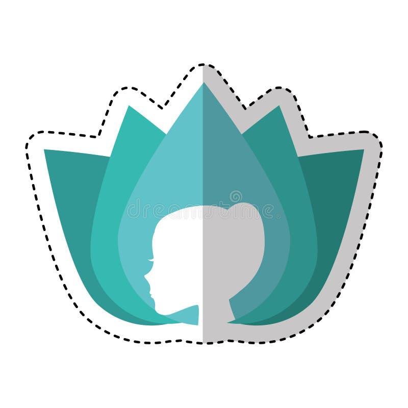 Flor linda con el icono del emblema del perfil de la mujer libre illustration
