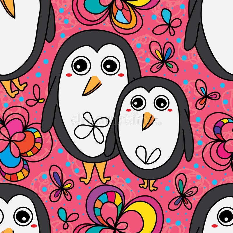 Flor linda del pingüino que dibuja el modelo inconsútil ilustración del vector