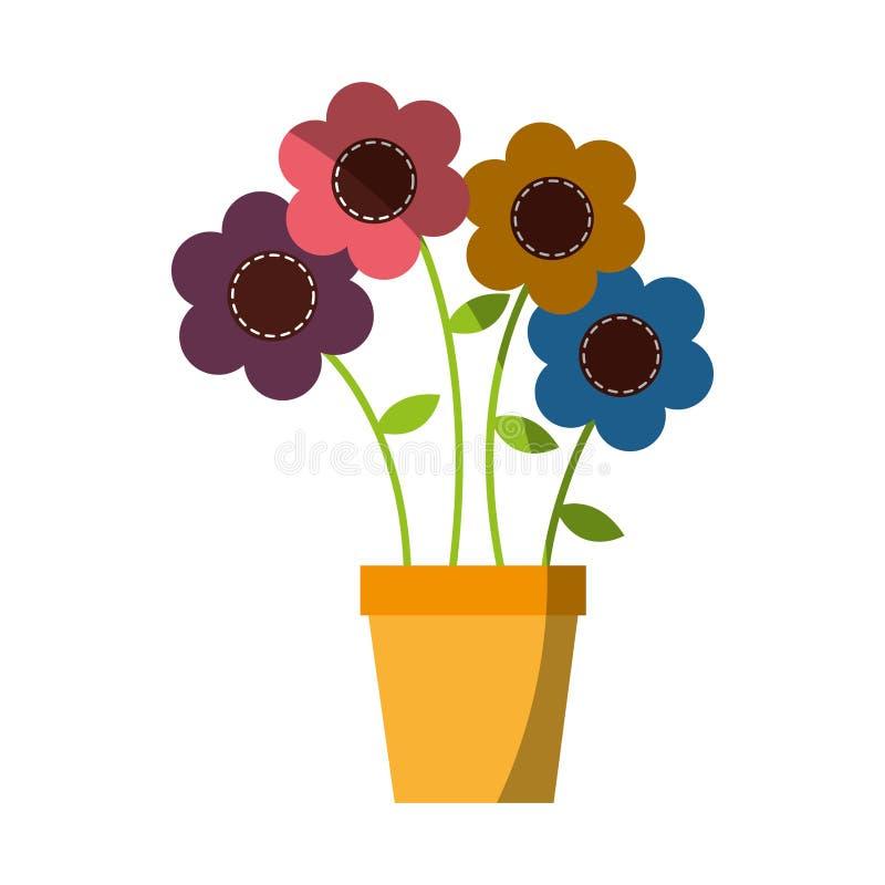 Flor linda en el dibujo del pote decorativo ilustración del vector