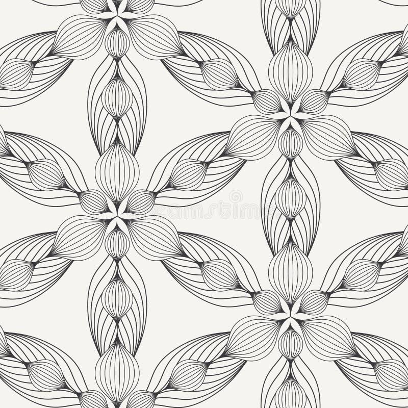 Flor linear abstrata ou flor com teste padrão das folhas Textura à moda monocromática Limpe o projeto para o papel de parede da t ilustração royalty free