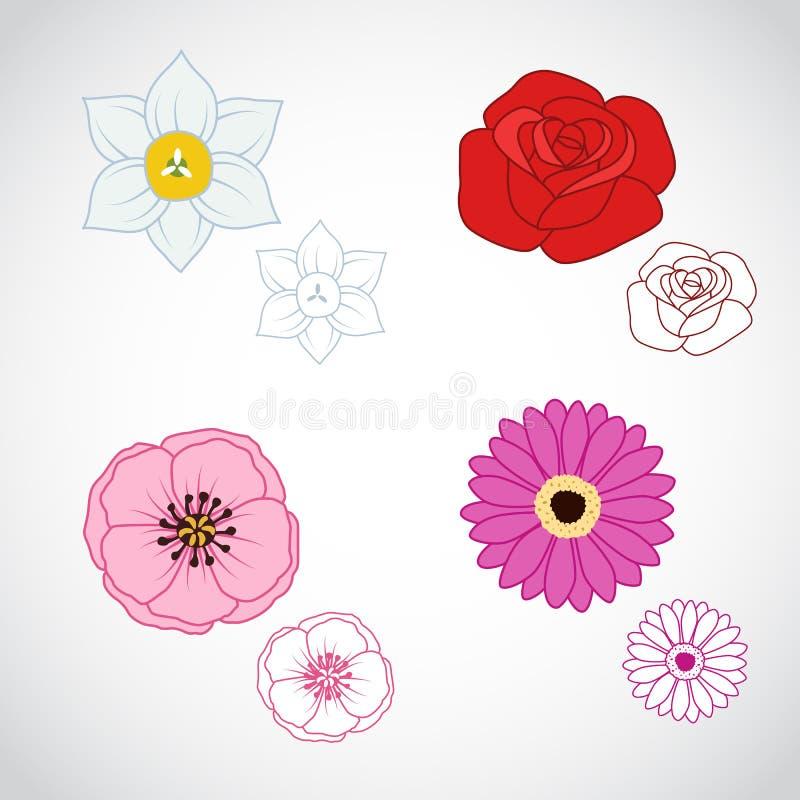 A flor Lineart ajustou 4 ilustração stock