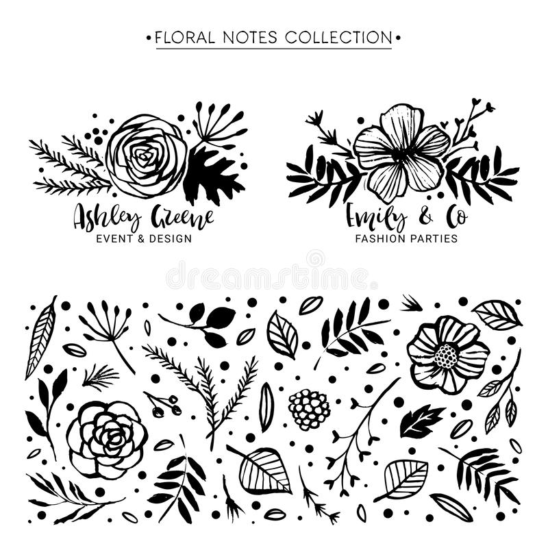 Flor Logo Template Colección botánica de las notas florales Flores stock de ilustración