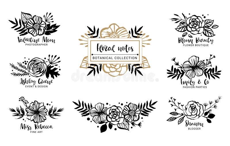 Flor Logo Template Colección botánica floral Flores, salvado stock de ilustración