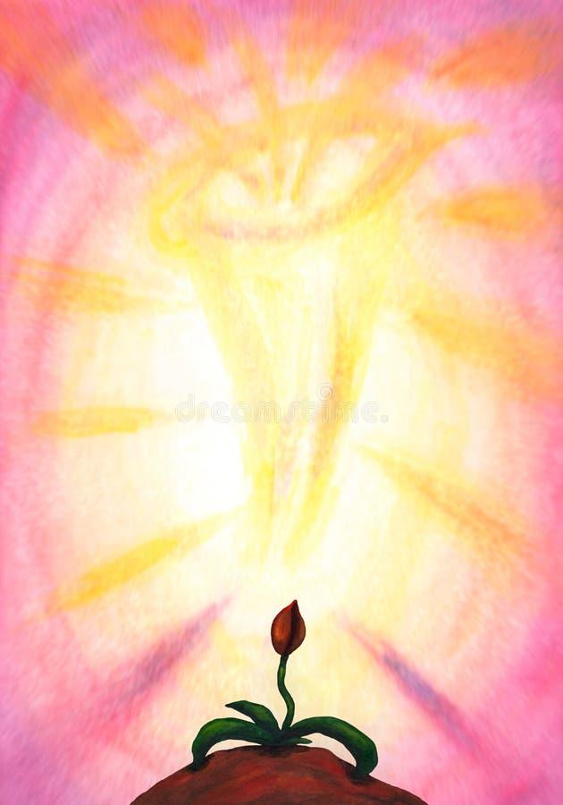 Flor mágica com uma aura surpreendente (2014) ilustração do vetor