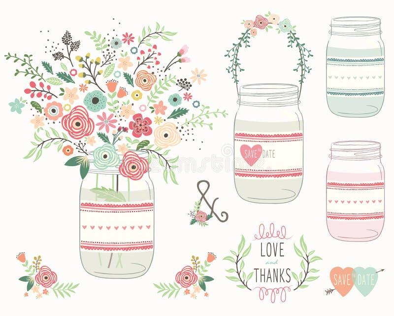 Flor Mason Jar de la boda libre illustration