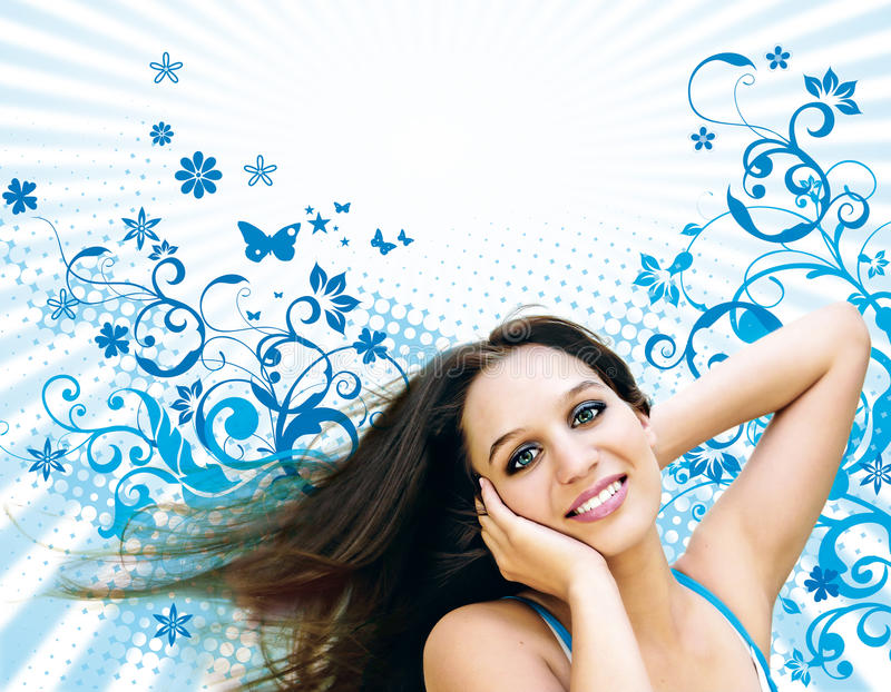 Flor-menina 4 fotos de stock royalty free