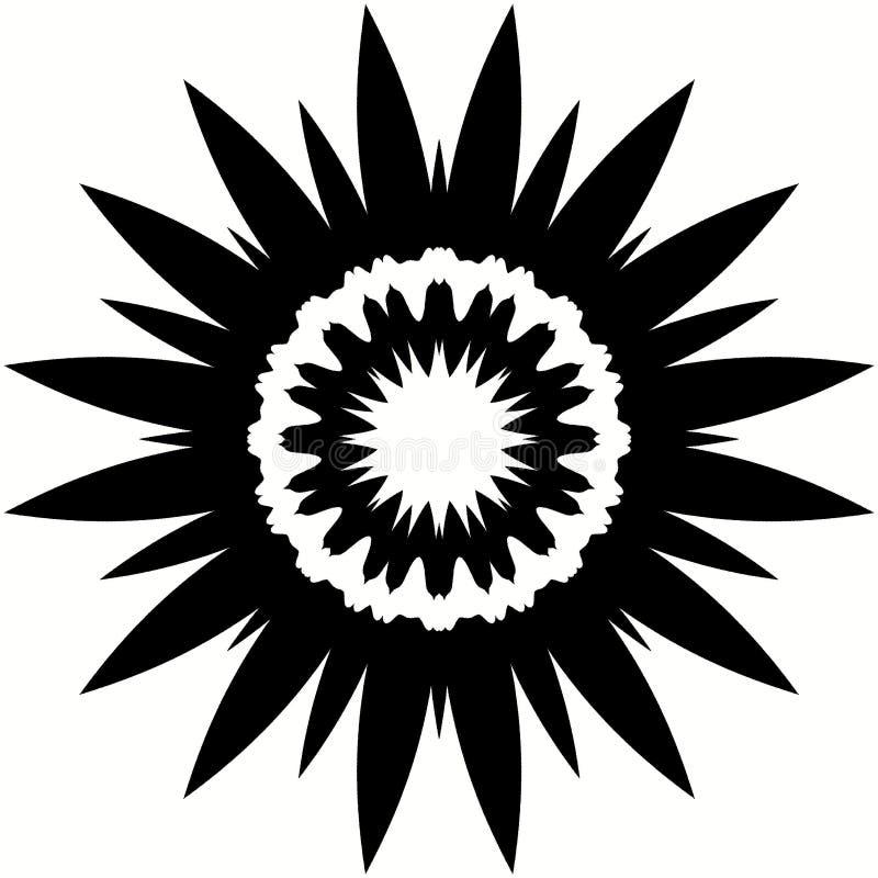 Flor modelada blanco y negro - silueta de la mandala libre illustration
