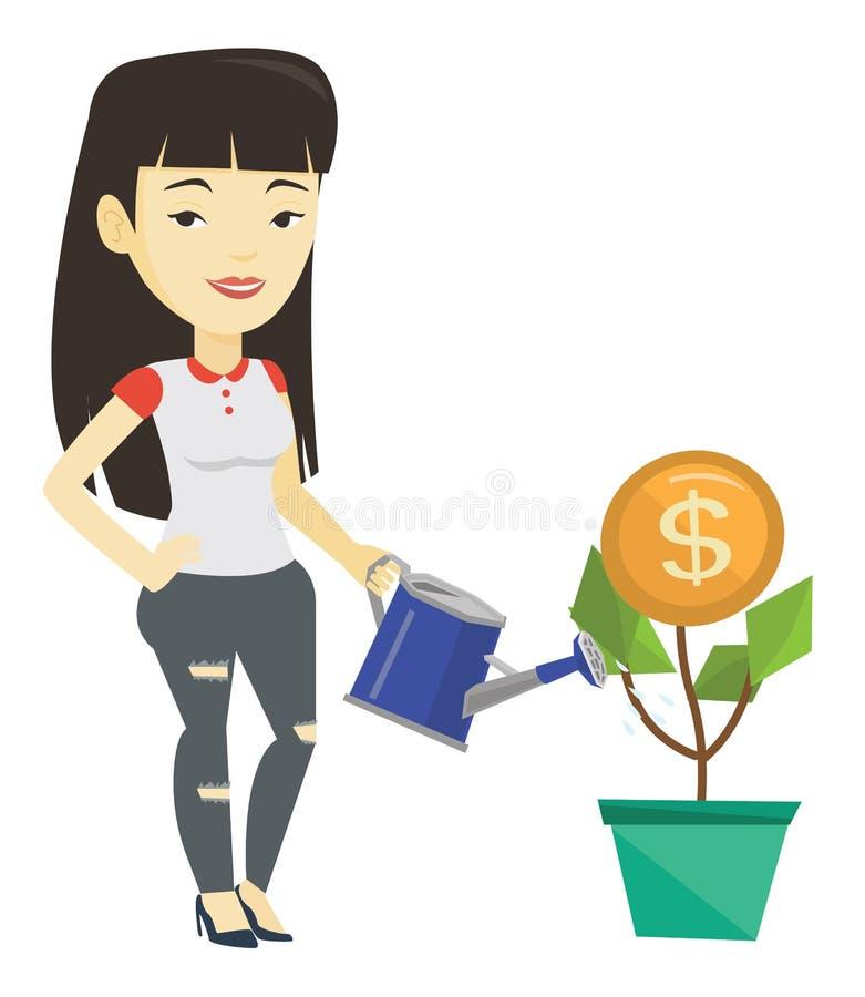 Flor molhando do dinheiro da mulher de negócio ilustração royalty free