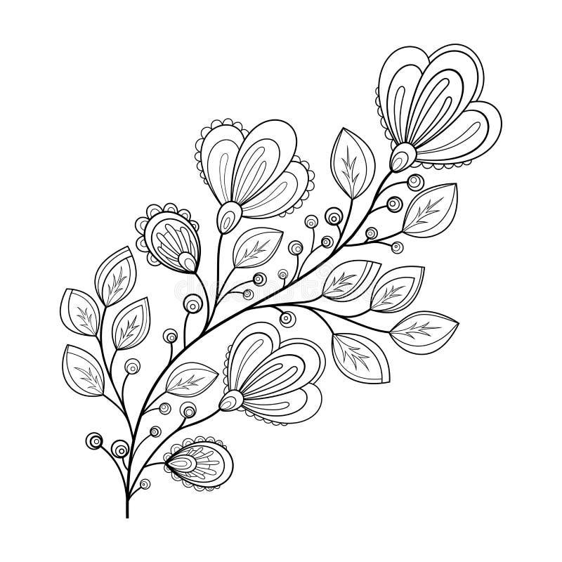 Flor monocromática hermosa del contorno del vector stock de ilustración