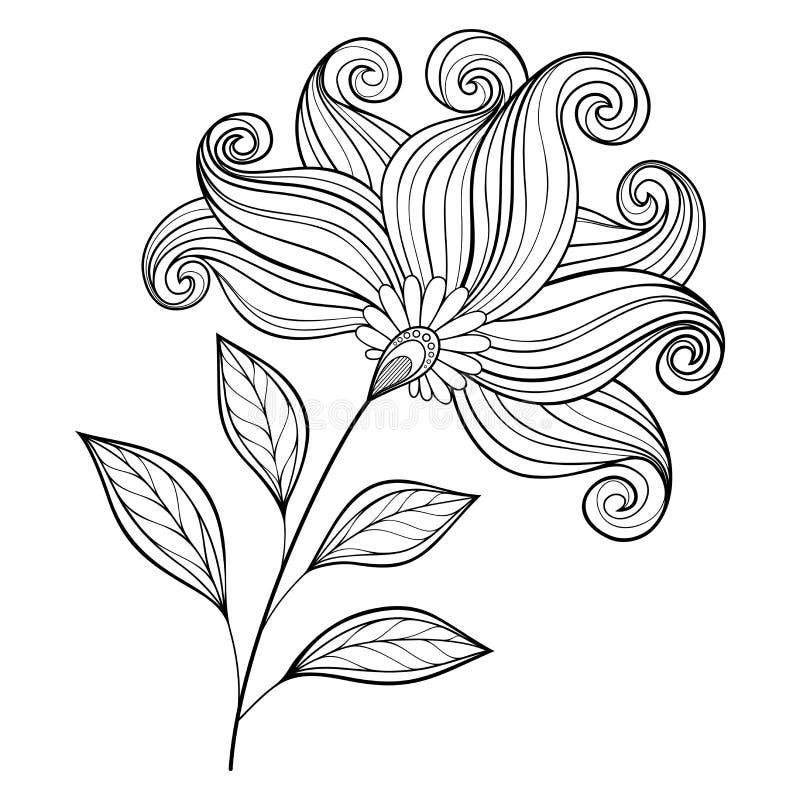 Flor monocromática hermosa del contorno del vector libre illustration
