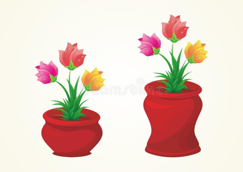 Flor na coleção do vetor do vaso ilustração royalty free