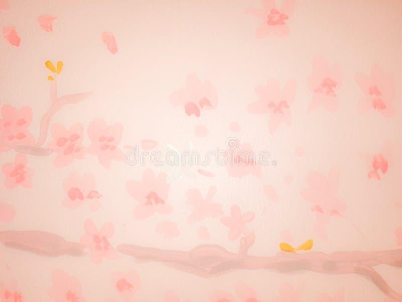 Flor nas áreas do rosa da parede em público para o uso como um fundo ilustração do vetor