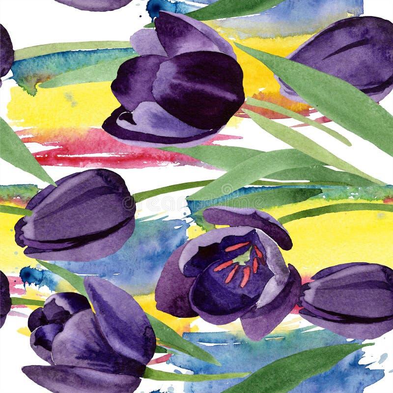 Flor negra de los tulipanes de la acuarela Flor botánica floral Modelo inconsútil del fondo ilustración del vector