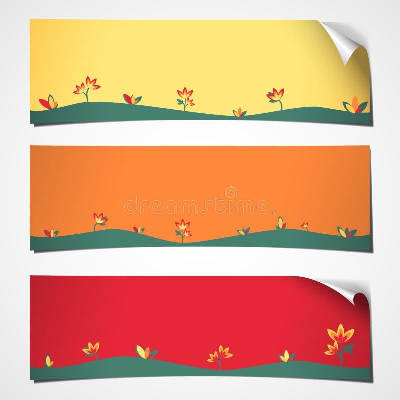 Flor ondulada bandeiras da mola ilustração do vetor