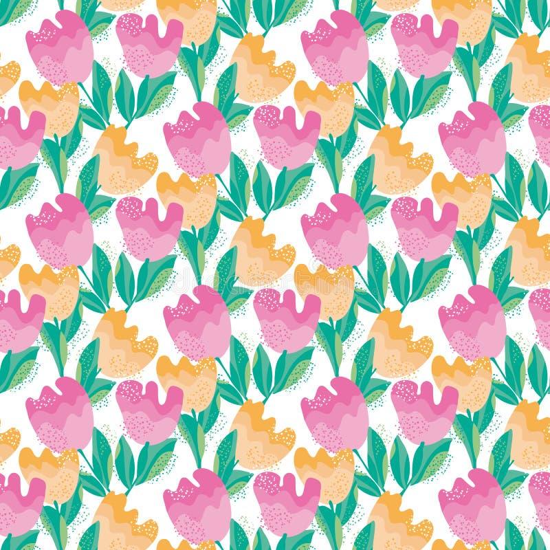 Flor pálida sem emenda, teste padrão da tulipa da cor ilustração do vetor