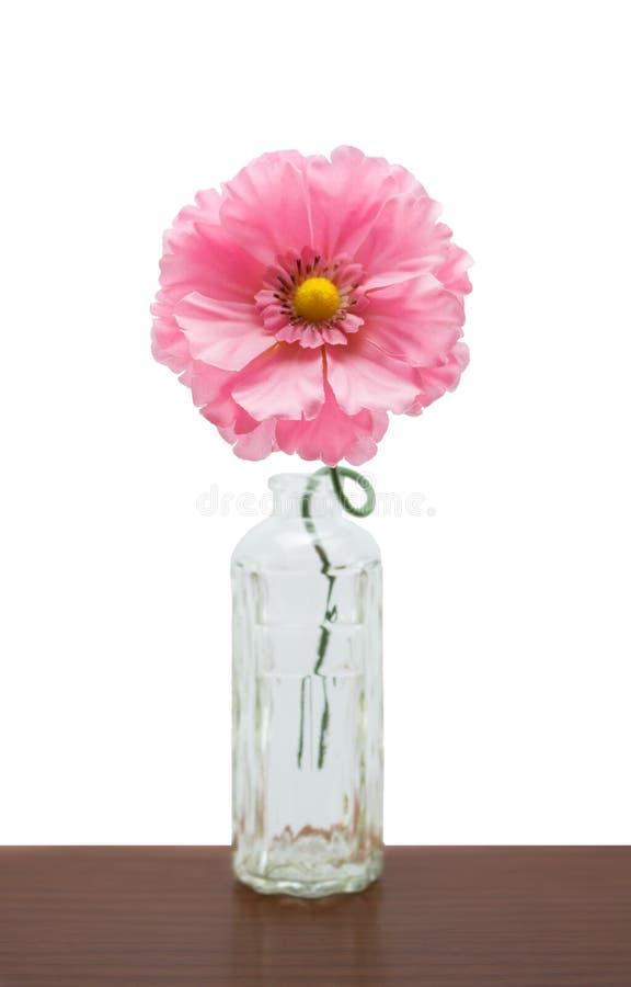 Flor plástica cor-de-rosa na garrafa foto de stock royalty free
