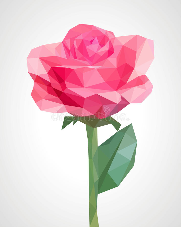 Flor polivinílica baja del rosa color de rosa del polígono aislada en un tronco verde romano libre illustration