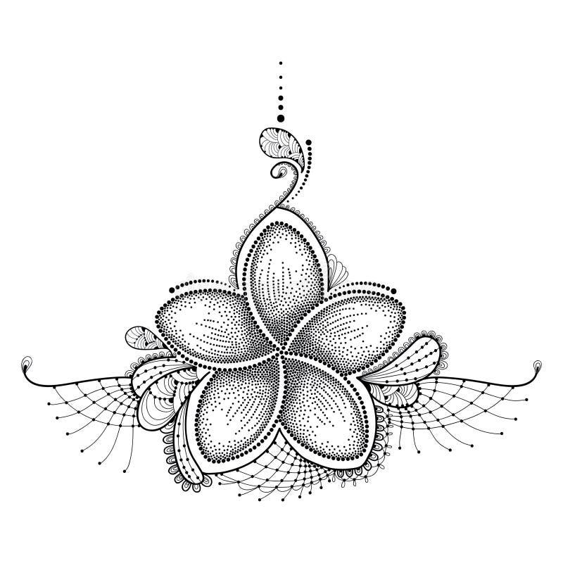 Flor pontilhada do Plumeria ou Frangipani no preto com laço decorativo no branco Elementos florais no dotwork para a tatuagem ilustração royalty free