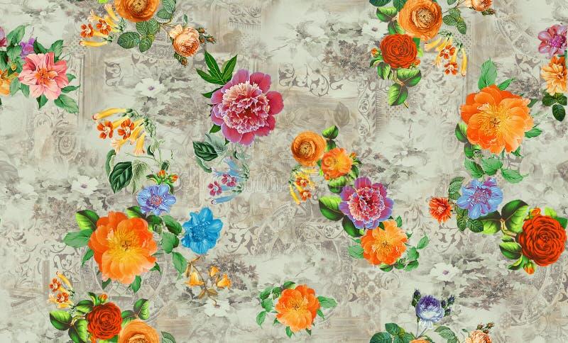 Flor por todo o lado nos gr?ficos coloridos digitais da imagem do teste padr?o da cor bonitos ilustração stock