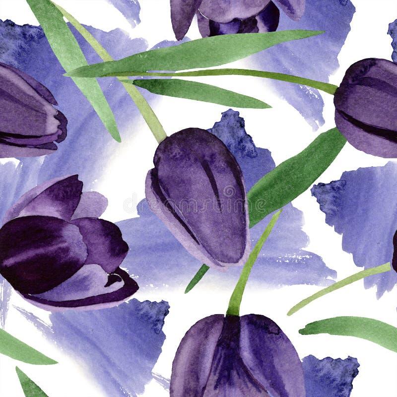 Flor preta das tulipas da aquarela Flor botânica floral Teste padrão sem emenda do fundo ilustração stock