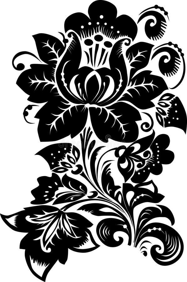 Flor preta grande no branco ilustração royalty free