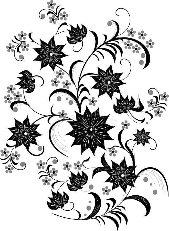 Flor preto e branco   ilustração do vetor