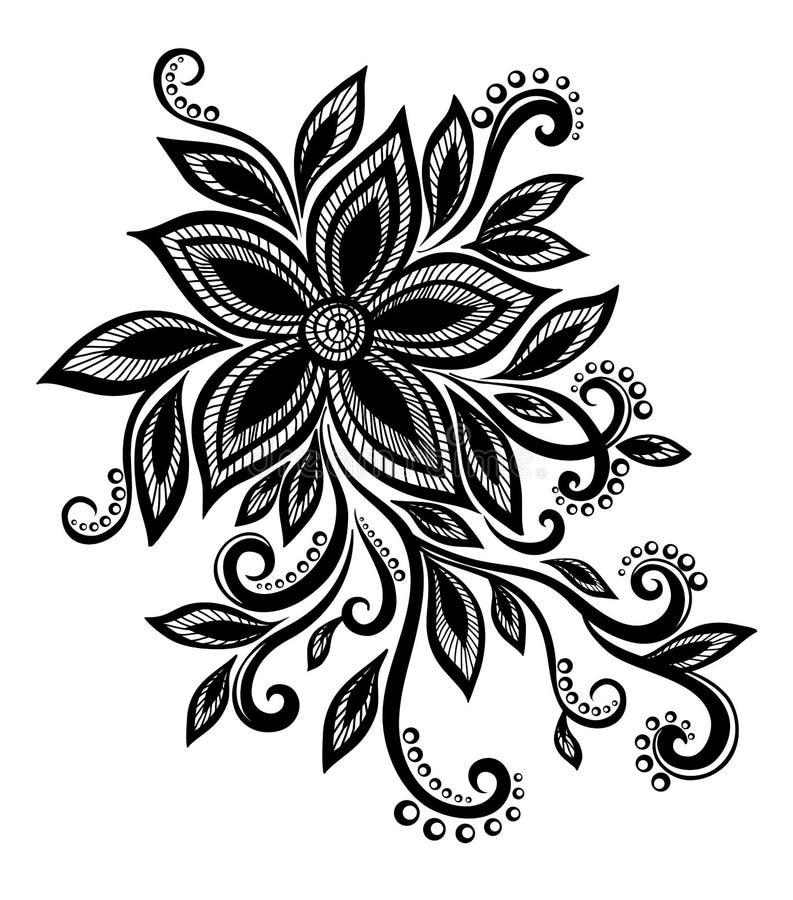 Flor preto e branco bonita com laço de imitação, ilhós, elemento do projeto ilustração do vetor
